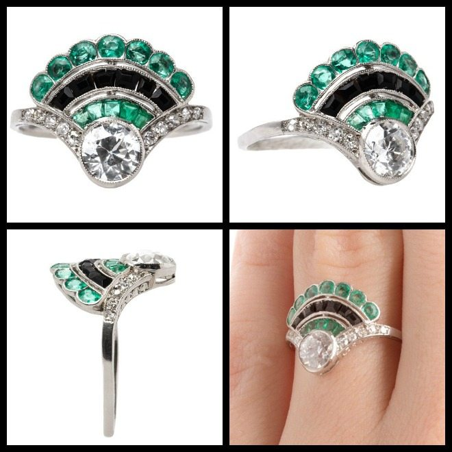All views of an antique Art Deco fan ring with diamonds, emeralds, and onyx