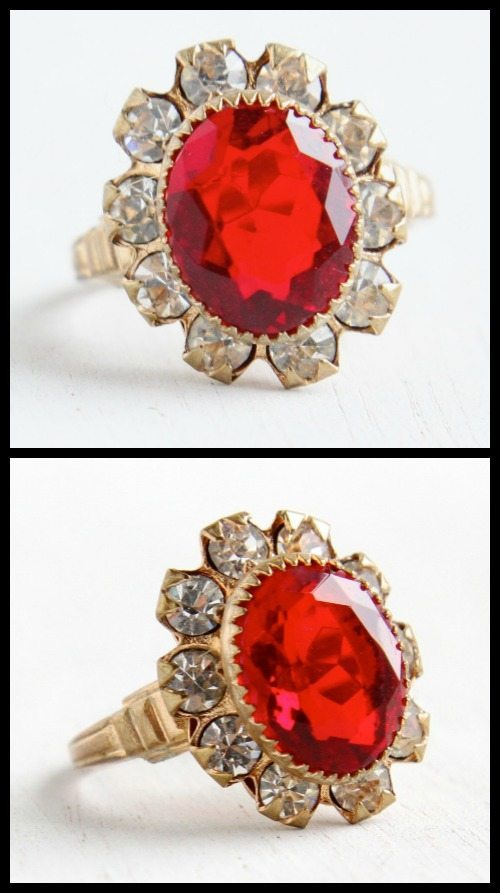 Antique Art Deco simulated ruby and rhinestone cocktail ring.