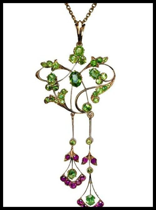 Antique Russian Art Nouveau demantoid and ruby pendant.