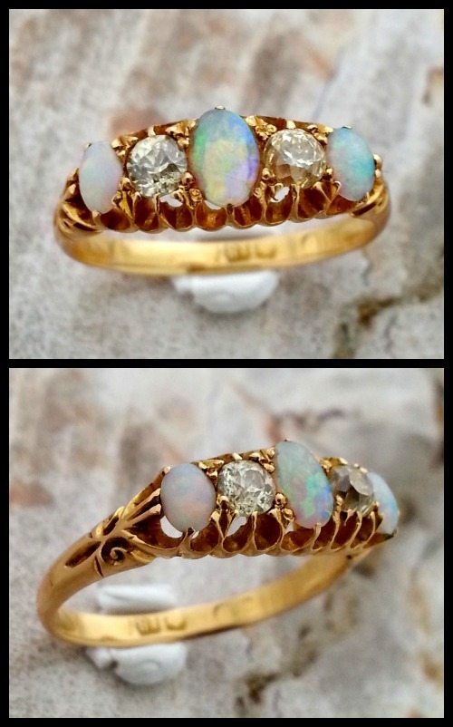 Antique Victorian opal and diamond ring in gold.