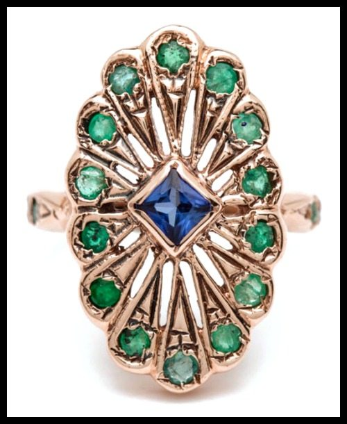 Arik Kastan sapphire and emerald Peacock ring in 14k rose gold.