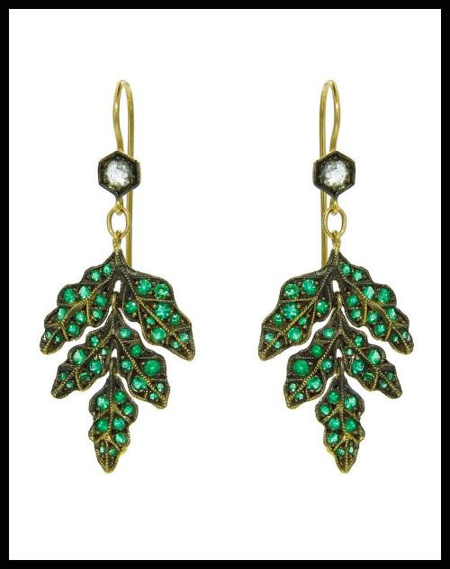 Cathy Waterman Emerald Forest Earrings with emeralds and rose cut diamonds in 22k gold.