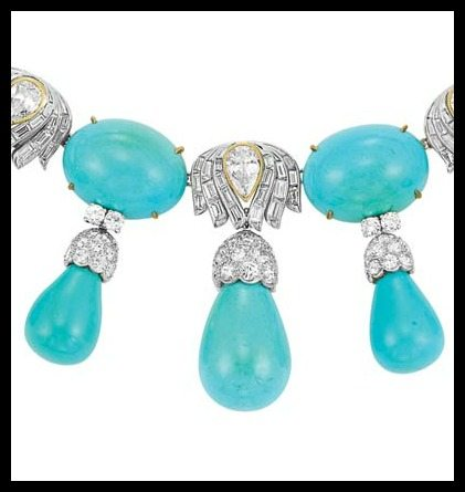 Diamond detailing on 1950s turquoise and diamond necklace by Julius Cohen