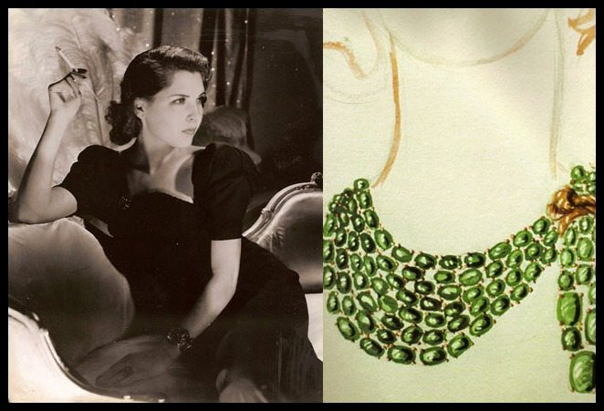 Dorothy Paley Hirshon beside a sketch of her iconic Verdura emerald scarf necklace