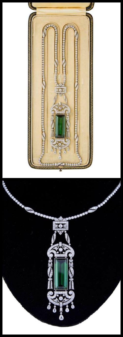 Edwardian tourmaline and diamond necklace by Drecier and Co., circa 1915.
