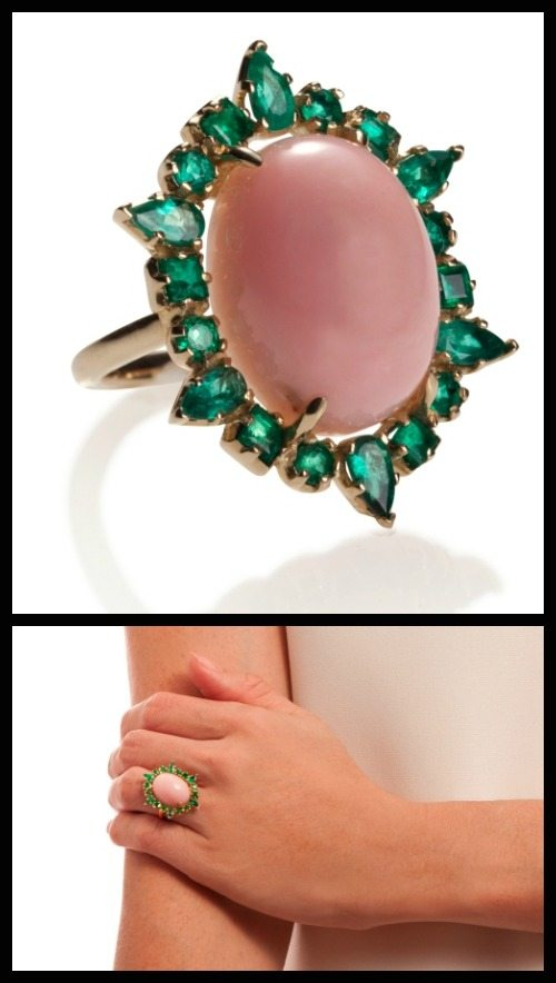 Emily and Ashley cocktail ring in pink opal surrounded by multishaped emeralds. At Stone and Strand.