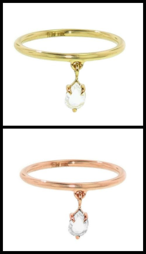 Finn rose-cut diamond dangle ring in yellow or rose gold.