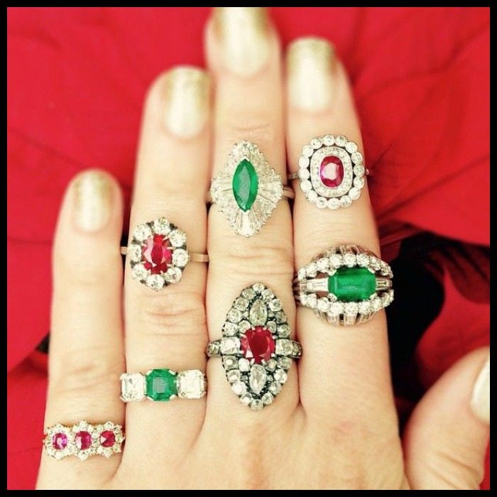 Glorious antique ruby and emerald rings at Craig Evan Small.