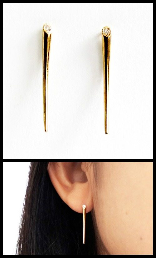 Gold and diamond earrings from n + a New York.