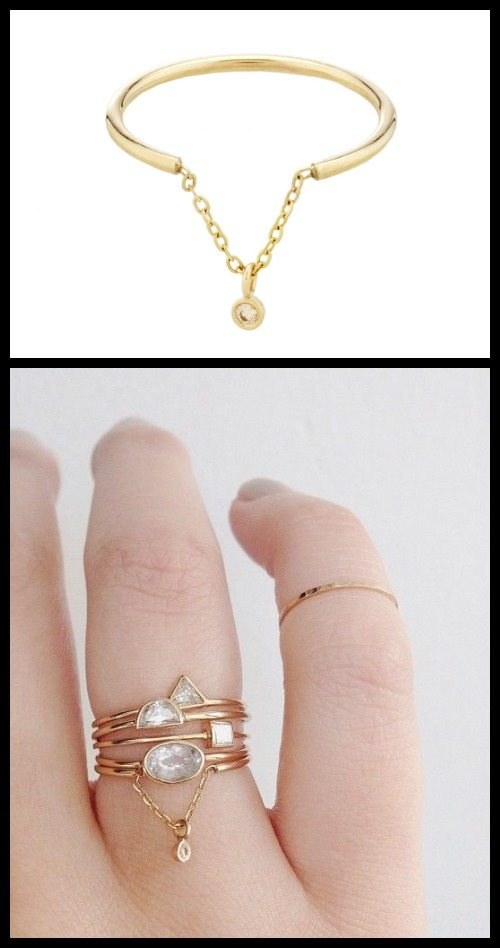 Hanging diamond by Vale jewelry, available in 14k white, rose, or yellow gold.