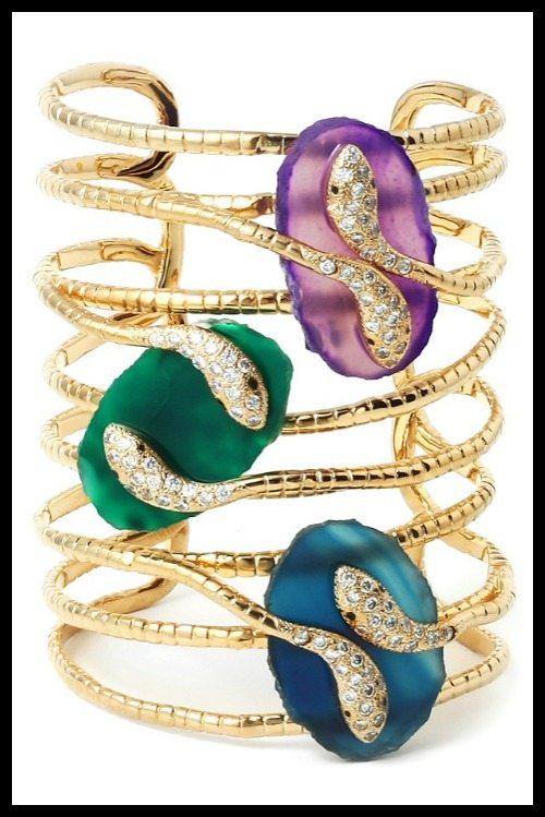 Isharya Peacock Serpent Druzy statement cuff with green, purple, and midnight druzy.