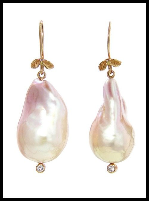 Jamie Joseph large pink pearl drop earrings with baroque freshwater pearls.