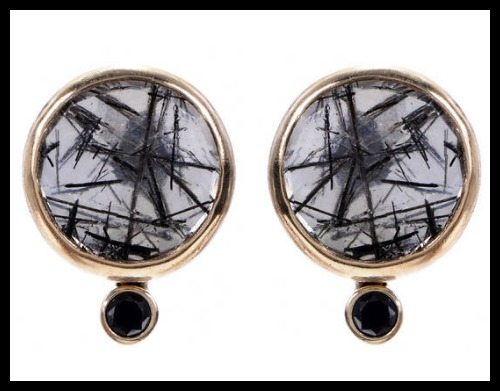 Jamie Joseph tourmilated quartz earrings with black satellite diamonds.
