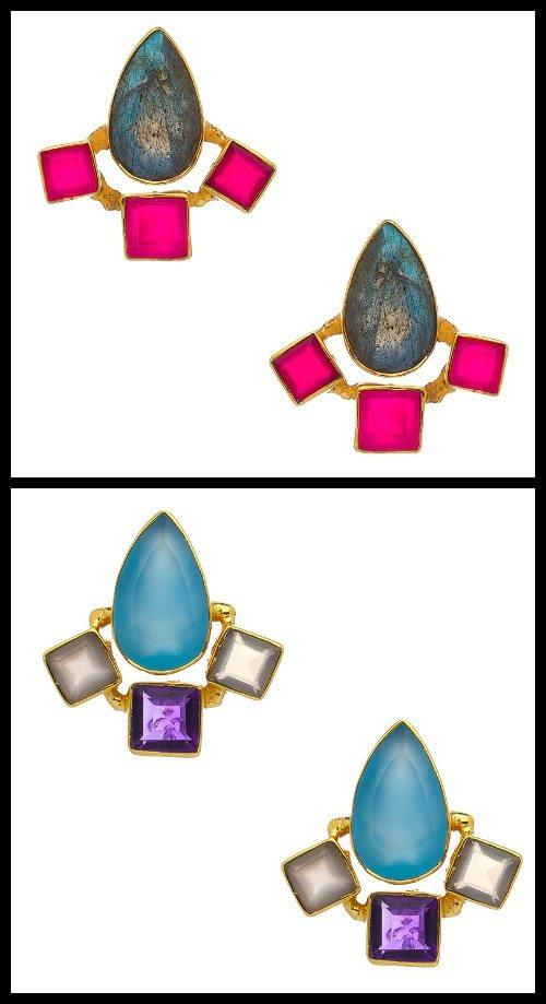 Kanupriya Skyline Stud earrings in blue or pink.