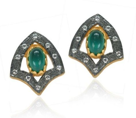 Treat Yo'self: stud earrings under $100, featuring these Kevia Green Onyx Shield stud earrings.
