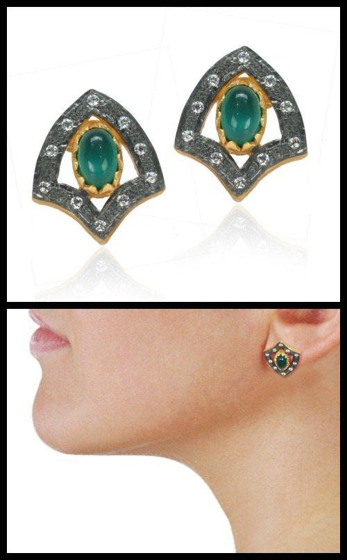 Treat Yo'self: stud earrings under $100, featuring these Kevia Green Onyx Shield stud earrings.