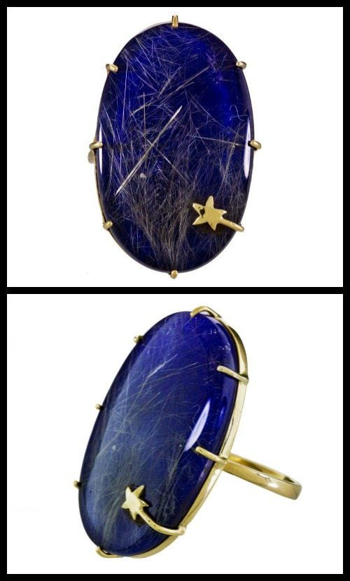Lapis and rutilated quartz shooting star ring by Andrea Fohrman.