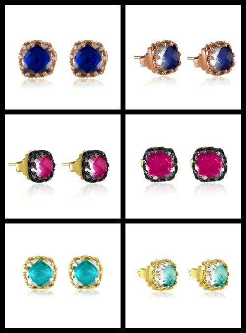 Larkspur & Hawk small Jane post earrings with foiled topaz in mint, indigo or fuchsia. At Stone and Strand.