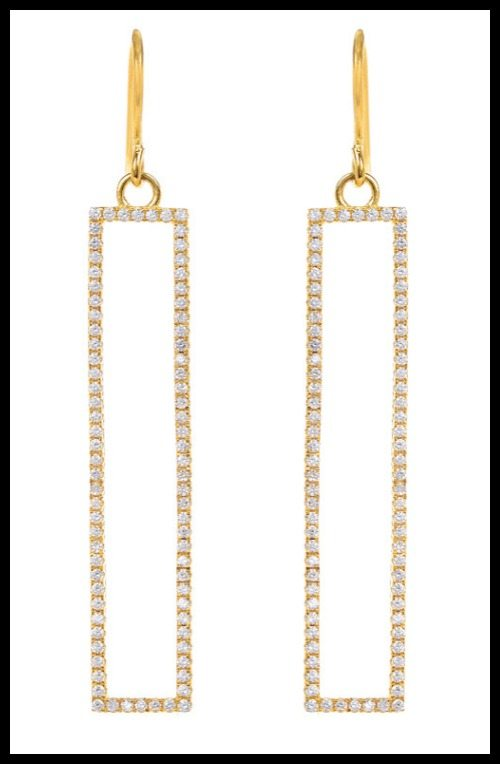 Marcia Moran gold-plate CZ rectangle earrings.