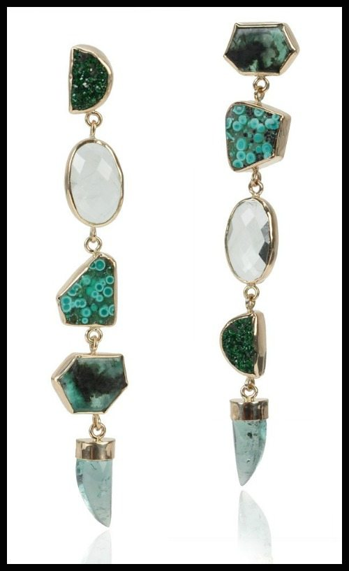 Melissa Joy Manning Cheremoya Drop earring with an emerald slice, uvaroite garnet, botryoidal malachite, and tourmaline.