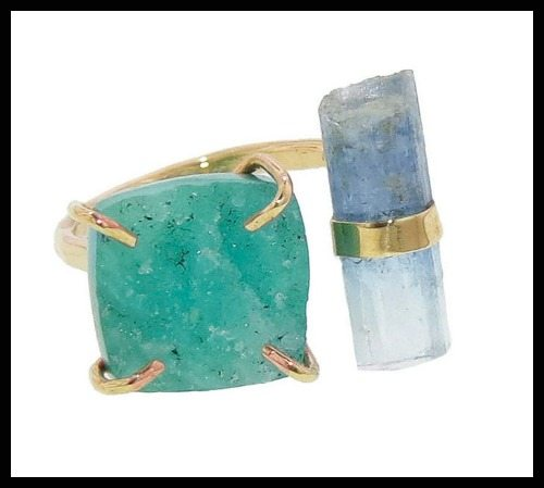 Melissa Joy Manning druzy and aqua double stone ring.