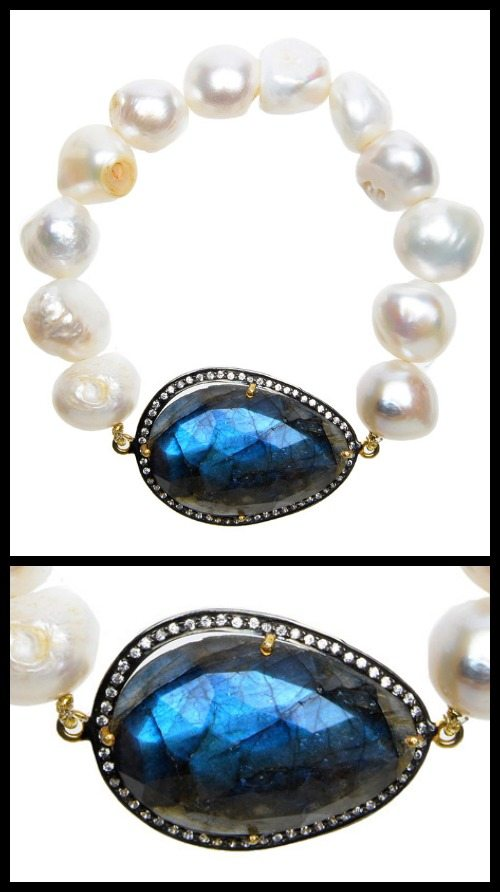 Nancy Johnson baroque pearl bracelet with labradorite.
