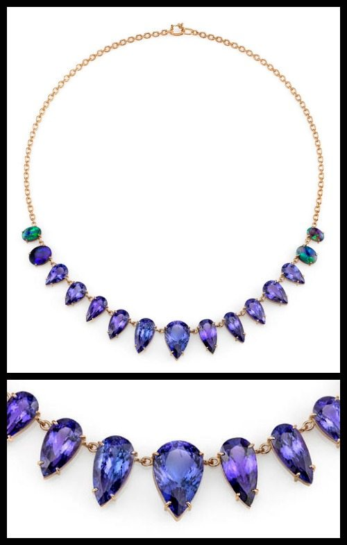 One of a Kind Tanzanite with Opals necklace by Irene Neuwirth. 51.75 carats of tanzanites with Lightning Ridge opals in 18k rose gold.