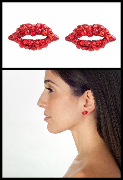 Piper Strand red lip rhinestone studs.