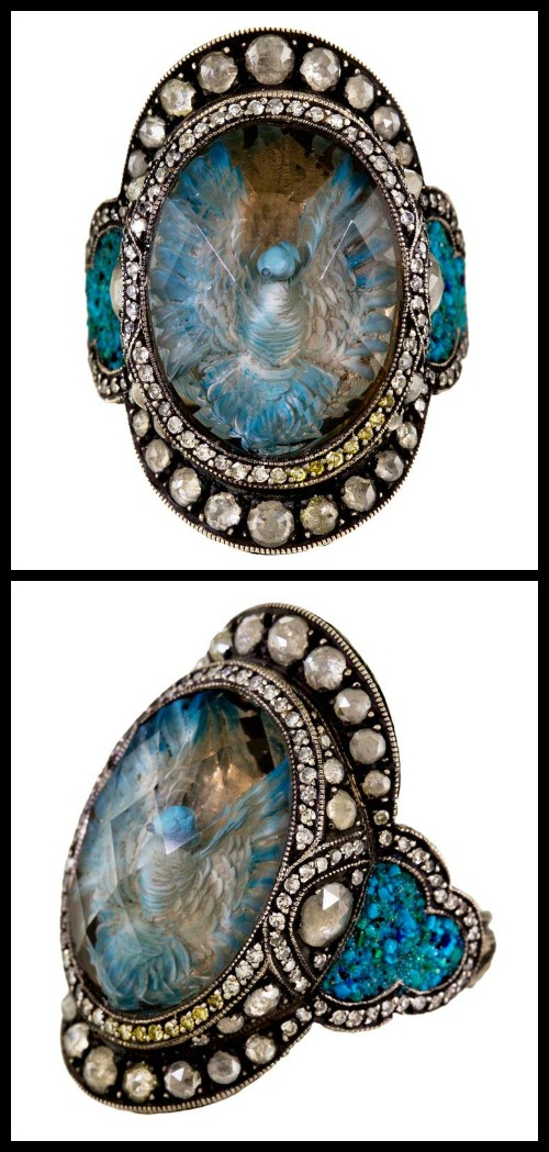 Sevan Bicakci Fluttering Dove ring with smoky topaz reverse intaglio and diamonds.