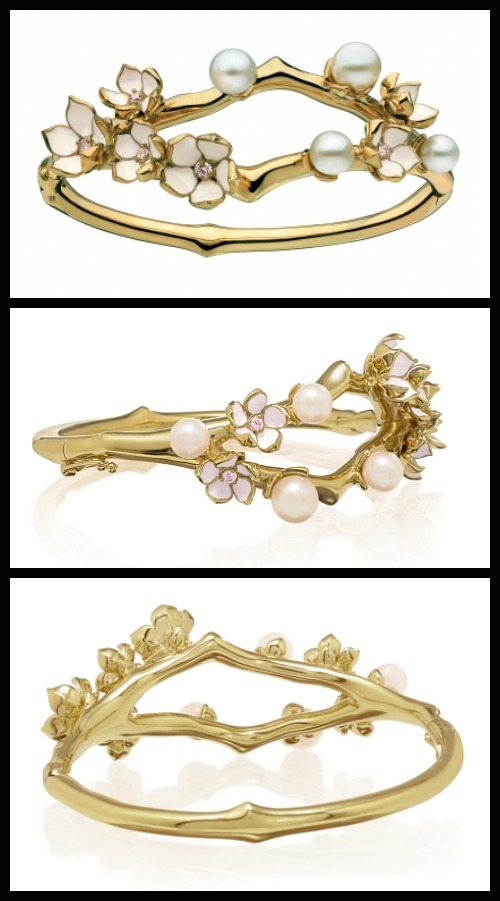 Shaun Leane Cherry Blossom cuff in in 9K yellow gold vermeil. At Stone and Strand.