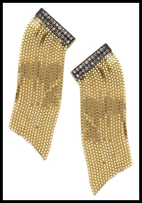 Sorellina diamond and gold fringe earrings.