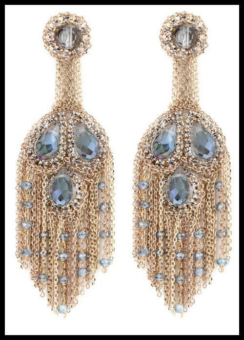 Theia crystal and chain chandelier earrings.