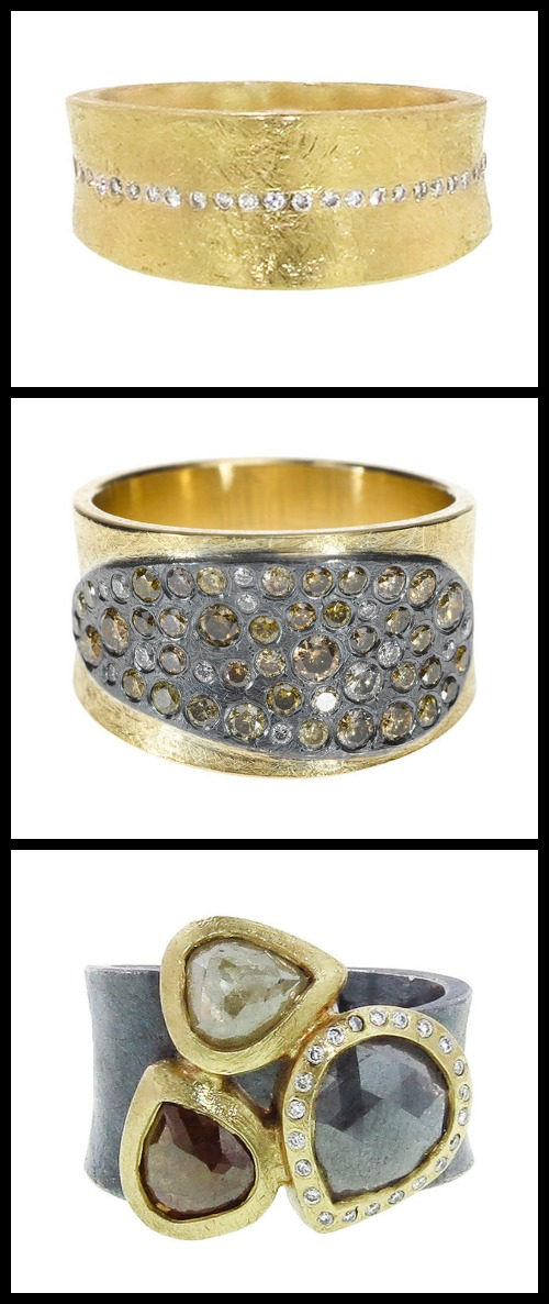 Three band rings by Todd Reed with gold, oxidized sterling silver, and white and colored diamonds.