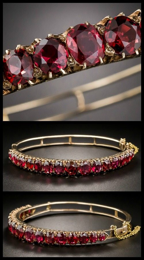Victorian red spinel bangle bracelet at Lang Antiques.