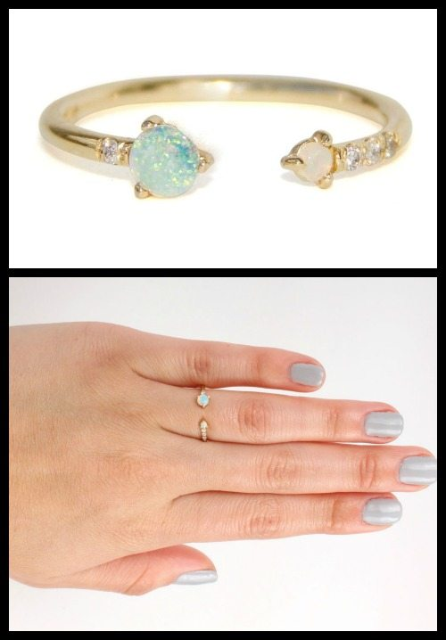 Wwake Open Opal & Diamond ring.