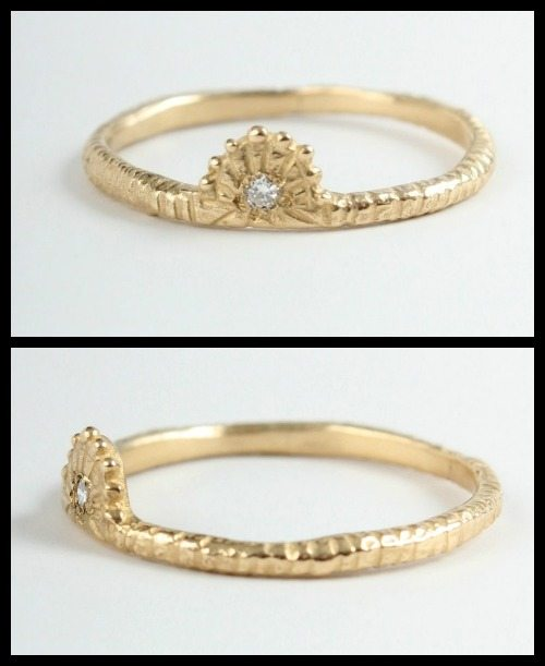 Yayoi Forest 14k gold and diamond Dawn ring.