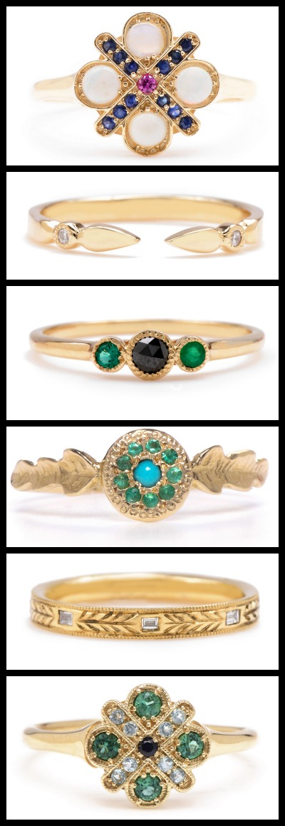 Gold, diamond, and gemstone rings by Lori McLean jewelry.