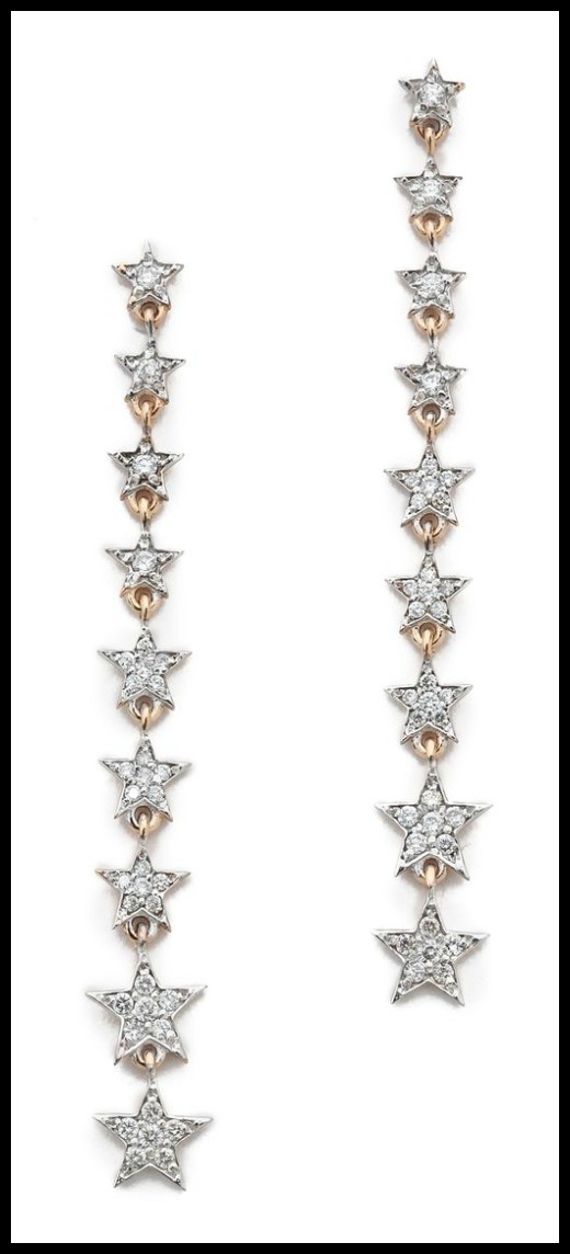 Kismet by Milka Heroine Long Star earrings with diamonds in rose gold.