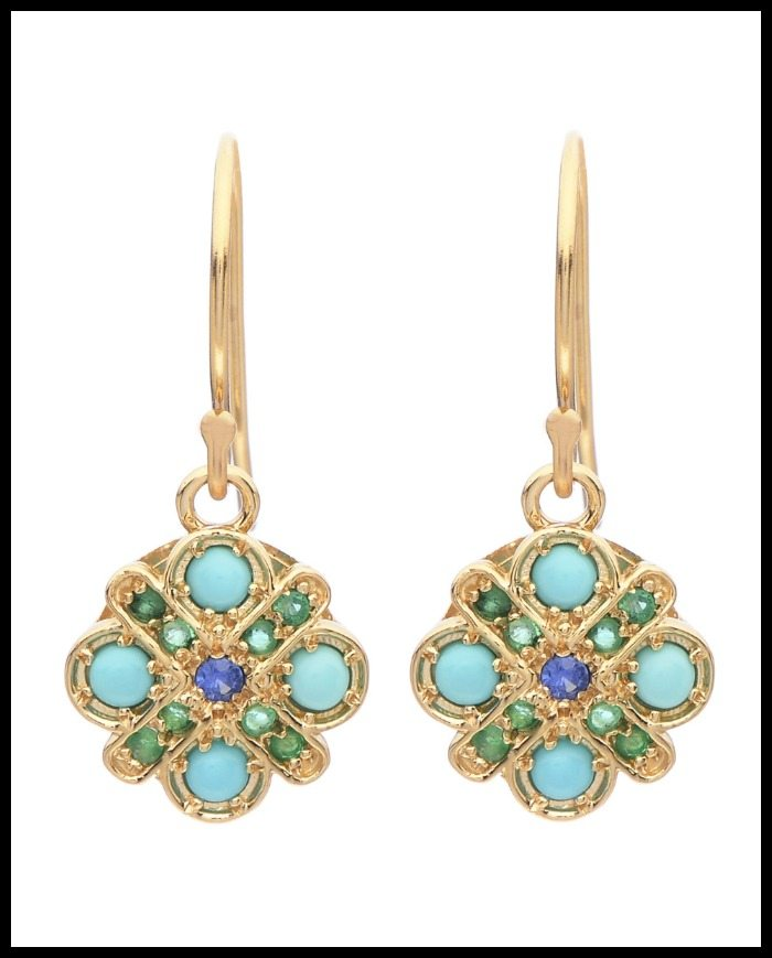 Lori McLean Flower Cross earrings with turquoise, emeralds, and sapphires in yellow gold.