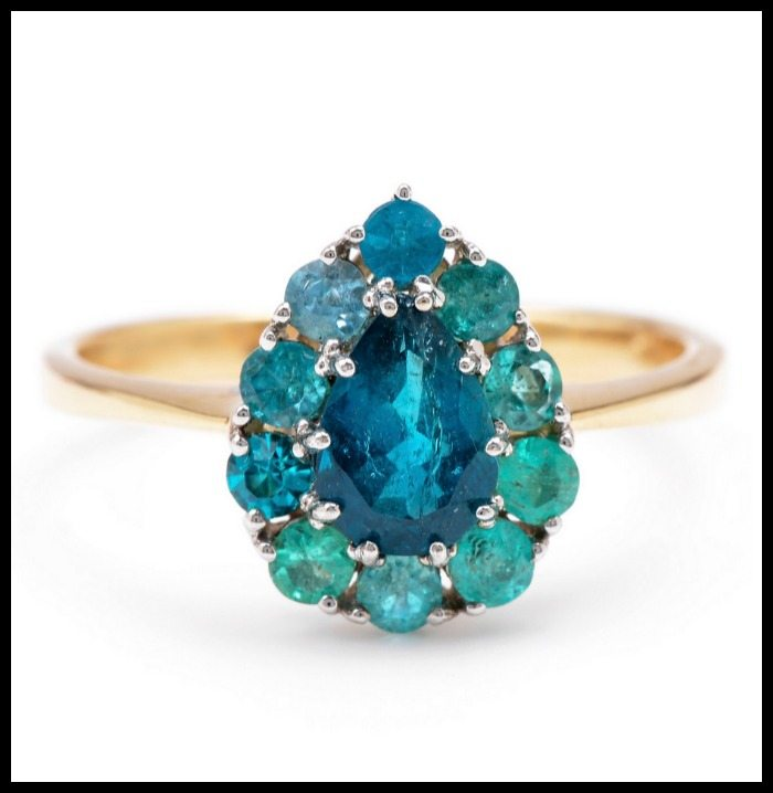 Lori McLean Paraiba Pear Halo ring with paraiba tourmaline, sapphire, diamond and 14k green gold.