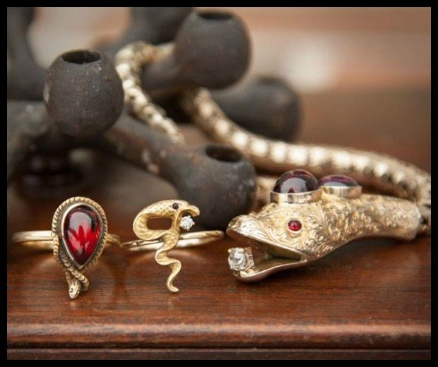 Antique snake jewelry at Trademark Antiques