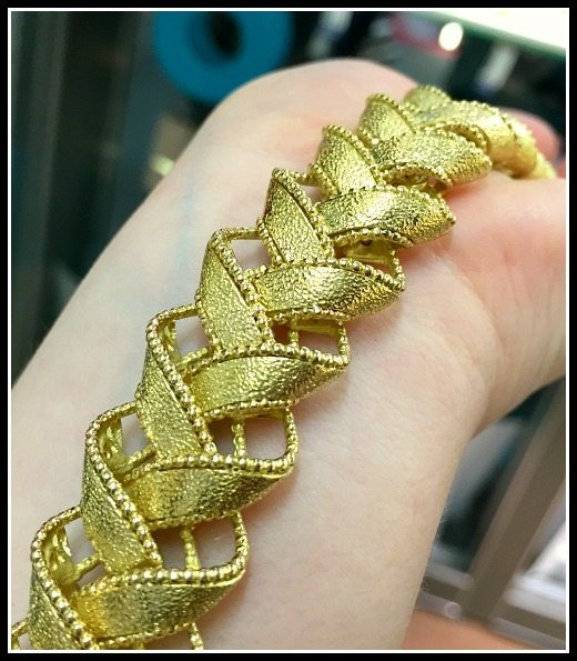 I love the beautiful texture of this gold ribbon bracelet by Micheletto