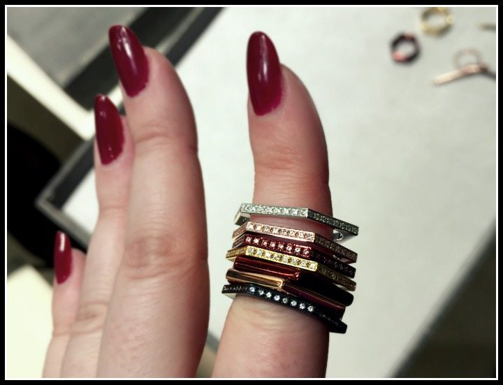 Industrial-chic stacking rings by Touscé; some with diamonds, some without.