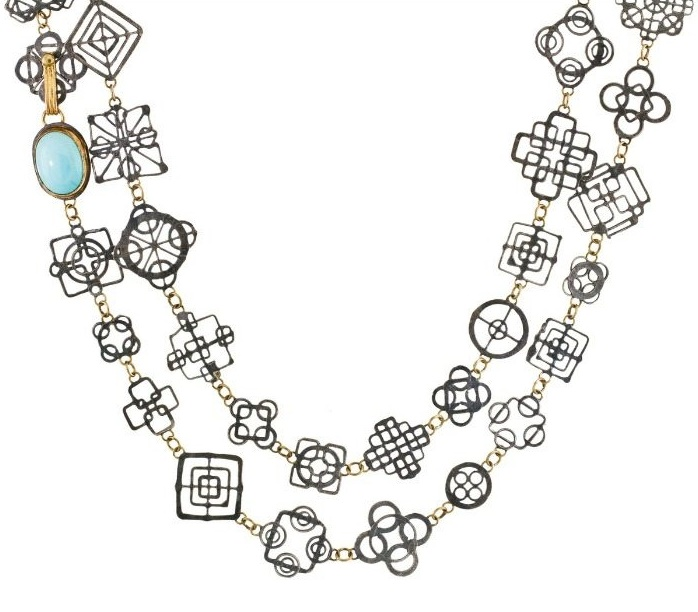Judy Geib necklace in detail - the very delicate silver Casino Royale necklace with turquoise and 18k gold.