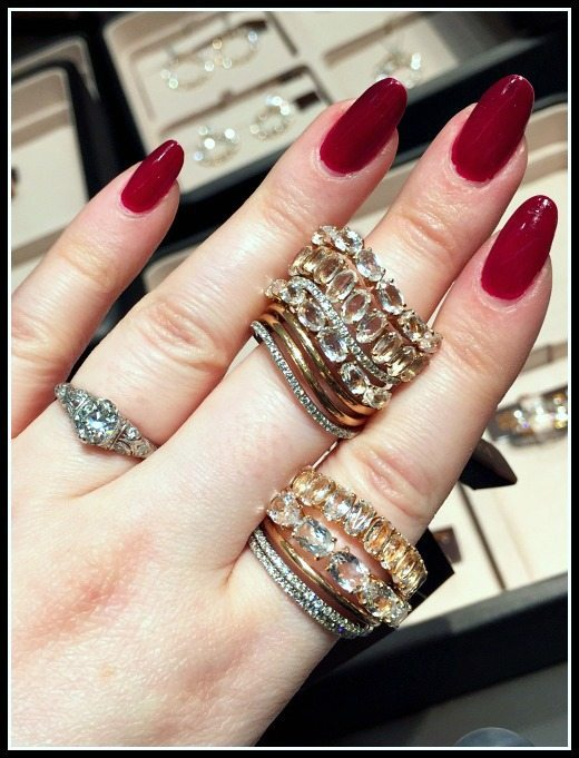 Several quartz and diamond stacking rings by Brumani. From the Looping Shine collection.