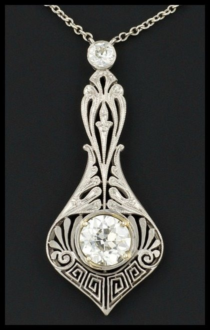 Spectacular Edwardian platinum and diamond filigree necklace at Trademark Antiques
