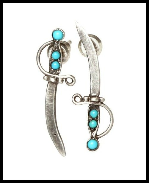 Workhorse jewelry Sloane dagger earrings in turquoise and silver.