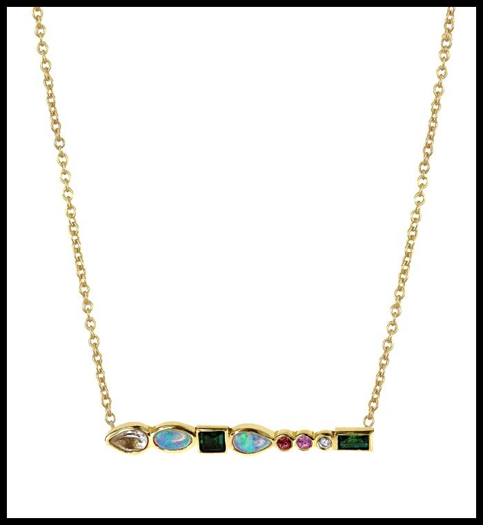 Ilana Ariel's Stepping Stone necklace in yellow gold with colorful gemstones and diamonds
