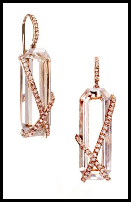 The Rachael Sarc Rose Earrings – rock crystal quartz with rose gold and diamonds.