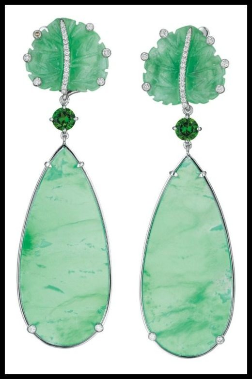 A pair of chrysoprase, chrome diopside, jade, and diamond ear pendants by Margherita Burgener